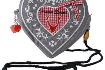 Herztasche in grau Rot von SR