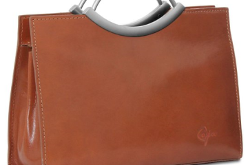 Cognac farbene Lederhandtasche von CASPAR