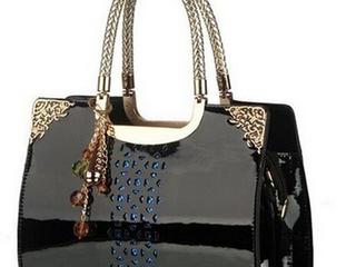 Coofits schwarze Lederhandtasche