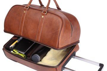 Weekender aus Leder, oben Reisetasche unten Koffer mit Rollen, aufklappbar