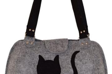 ROOGU Handmade Party Katze_ Handtasche aus Wollfilz