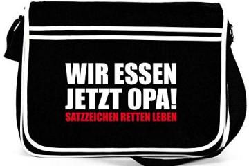 """Schwarzer Messangerbag """"Wir essen Opa"""" von Shirtstreet"""