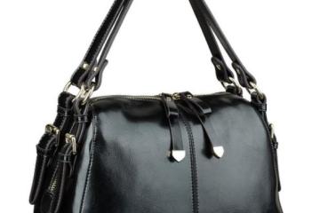 Yahoho Schultertasche aus schwarzem Leder